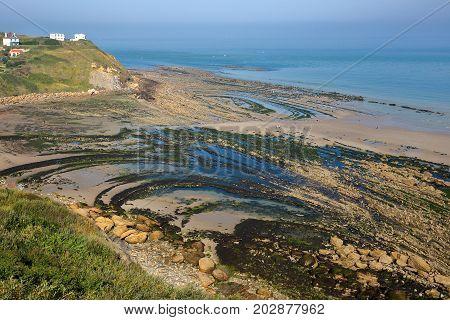 View of the Cap Gris Nez from a coastal path with the beach at low tide, Cote d'Opale, Pas de Calais, Hauts de France, France