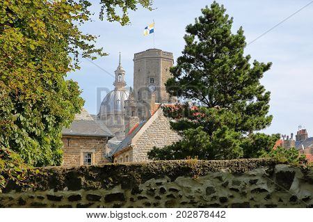 The ramparts with the Belfry and the Basilica of Notre Dame in the background, Boulogne sur Mer, Cote d'Opale, Pas de Calais, Hauts de France