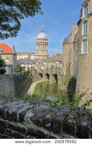 The Castle Museum and the Basilica of Notre Dame in the background, Boulogne sur Mer, Cote d'Opale, Pas de Calais, Hauts de France