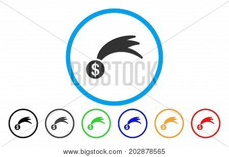 Lucky Falling Dollar rounded icon. Vector illustration style is a gray flat iconic lucky falling dollar symbol inside a circle. Additional color variants are black, gray, green, blue, red, orange.