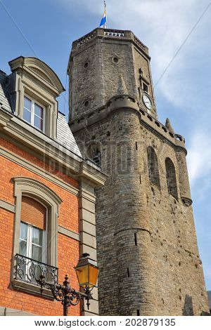 Colorful facades and the Belfry in Boulogne sur Mer, Cote d'Opale, Pas de Calais, Hauts de France
