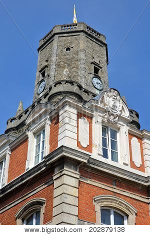 External details of the town Hall and the Belfry in Boulogne sur Mer, Cote d'Opale, Pas de Calais, Hauts de France