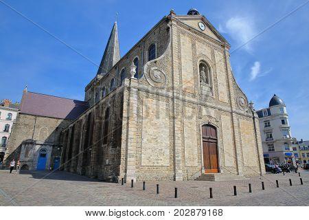 BOULOGNE SUR MER, FRANCE - AUGUST 28, 2017: St Nicolas Church, Cote d'Opale, Pas de Calais, Hauts de France
