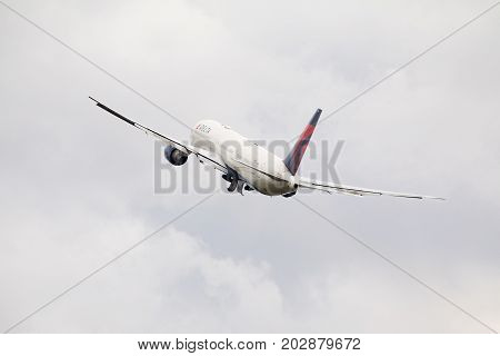 PRAGUE CZECH REPUBLIC - SEPTEMBER 03 2017: Delta Air Lines Boeing 767-400 taking off from Prague airport. This aircraft has registration N831MH .