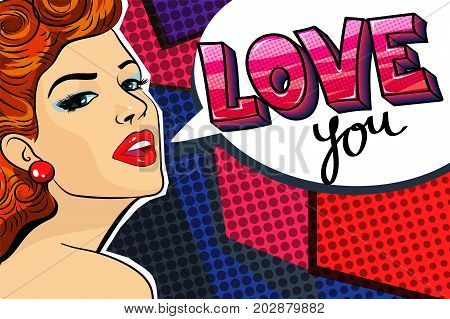 conceptual pop art style illustration with young beautiful girl saying Love you