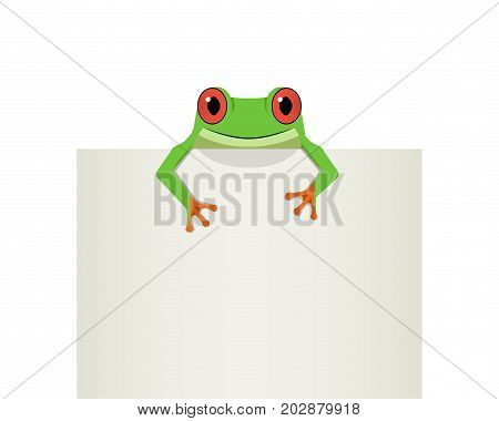 Red eye frog on top white paper vector design