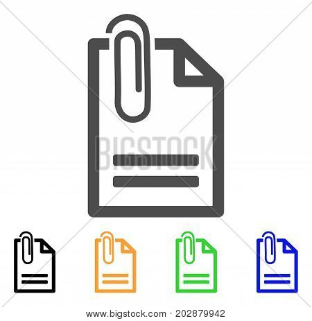 Attached Document vector icon. Style is a flat graphic symbol in gray, black, yellow, blue, green color variants. Designed for web and mobile apps.