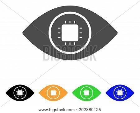 Bionic Eye Lens vector pictogram. Style is a flat graphic symbol in gray, black, yellow, blue, green color variants. Designed for web and mobile apps.