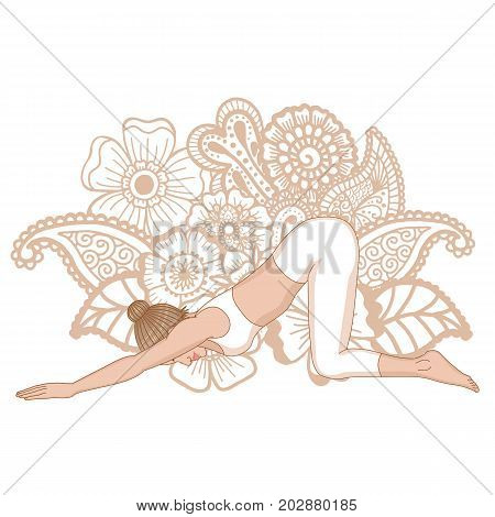 Women silhouette. Extended Puppy yoga pose. Uttana Shishosana Vector illustration