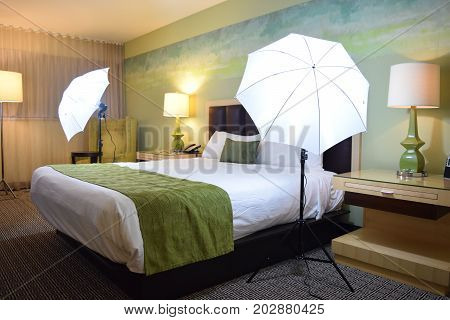 Photography lighting setup for a hotel photoshoot