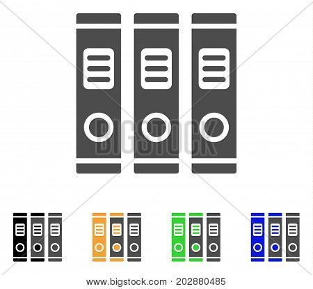 Books vector pictograph. Style is a flat graphic symbol in gray, black, yellow, blue, green color versions. Designed for web and mobile apps.