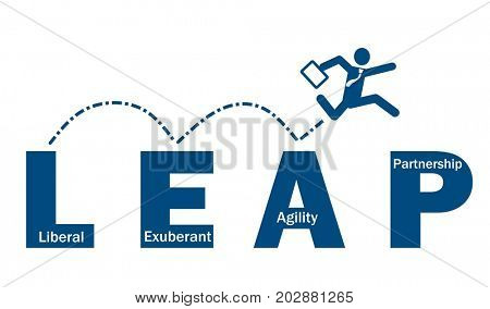 Businessman take leap jump