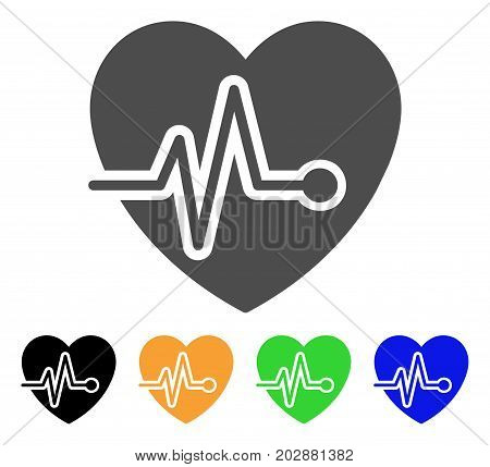 Cardio Pulse vector pictograph. Style is a flat graphic symbol in grey, black, yellow, blue, green color variants. Designed for web and mobile apps.