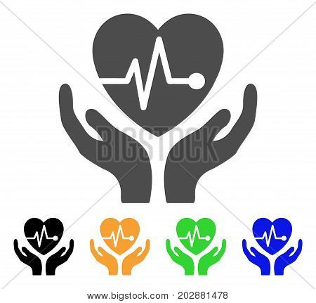 Cardiology Care Hands vector pictograph. Style is a flat graphic symbol in grey, black, yellow, blue, green color variants. Designed for web and mobile apps.