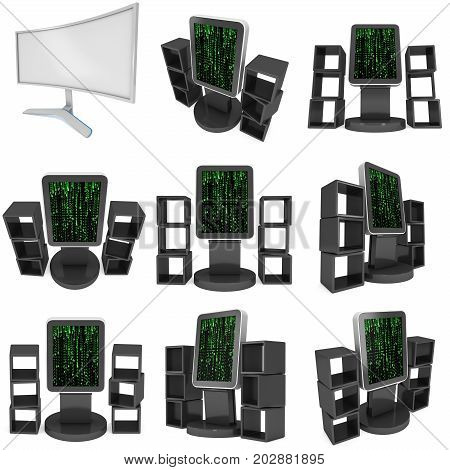 LCD Display Stand and product display boxes set. Trade Show Booth. 3d render isolated on white background. Ad template for your expo design.