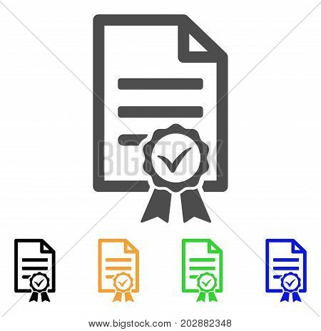 Contract Document vector pictogram. Style is a flat graphic symbol in gray, black, yellow, blue, green color variants. Designed for web and mobile apps.