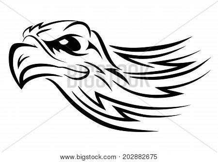 illustration of eagle head tattoo on isolated white background