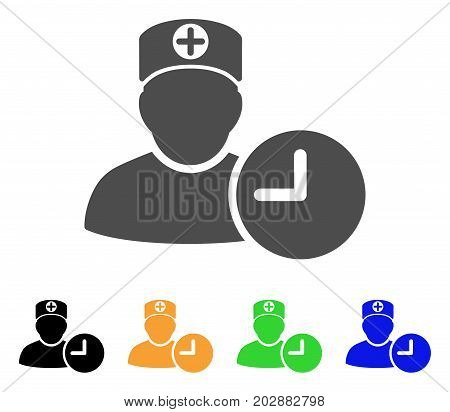 Doctor Appointment Clock vector icon. Style is a flat graphic symbol in gray, black, yellow, blue, green color versions. Designed for web and mobile apps.