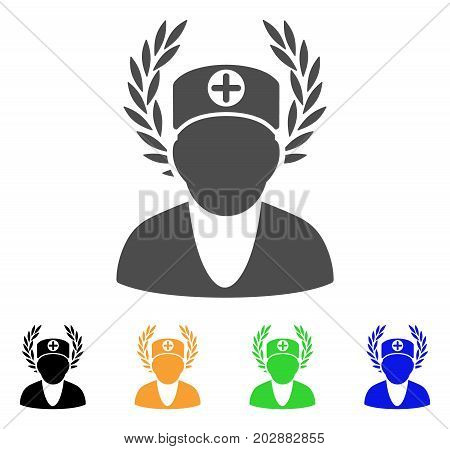 Doctor Laurel Wreath vector icon. Style is a flat graphic symbol in grey, black, yellow, blue, green color versions. Designed for web and mobile apps.