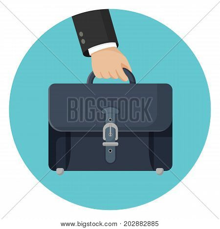 Briefcase in businessman hand vector illustration isolated on blue circle. Narrow hard-sided box-shaped bag or case used for carrying papers and documents with handle