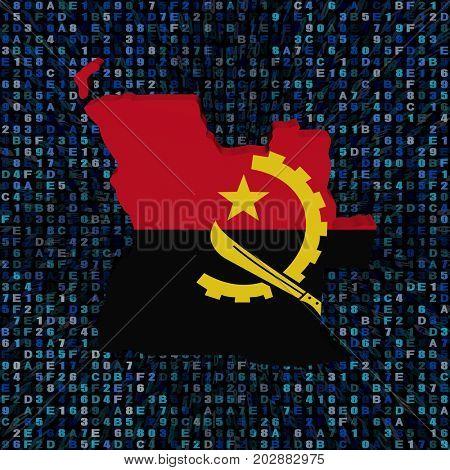 Angola map flag on hex code 3d illustration
