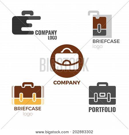 Briefcase logos collection of isolated vector illustrations on white background. Signs of companies producing bag and cases and portfolios