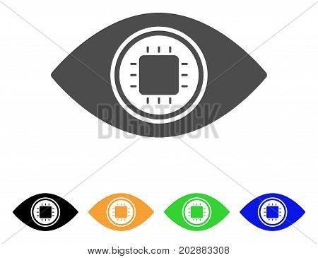 Electronic Eye Lens vector pictograph. Style is a flat graphic symbol in gray, black, yellow, blue, green color versions. Designed for web and mobile apps.