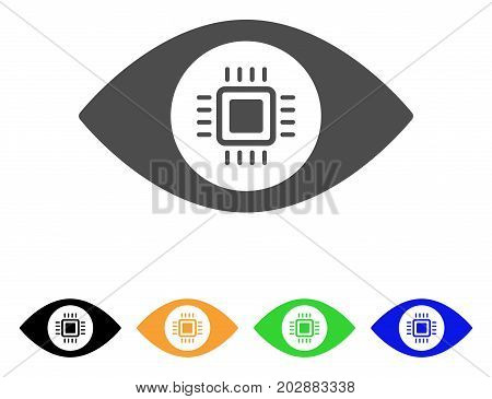 Electronic Vision Lens vector pictograph. Style is a flat graphic symbol in grey, black, yellow, blue, green color variants. Designed for web and mobile apps.