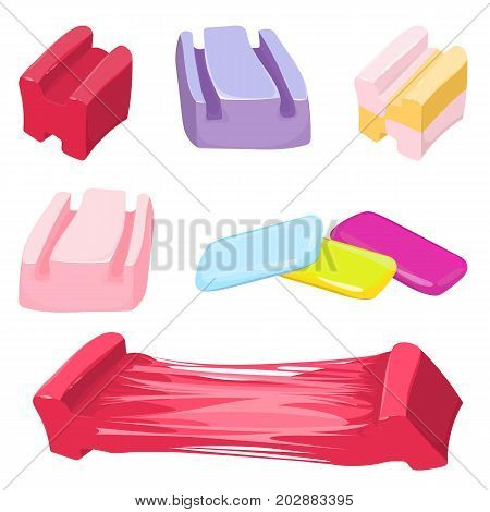 Set of colorful bubble gum candies vector illustration isolated on white background. Chewing gums that can be blown into bubbles.