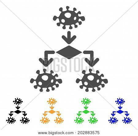 Epidemic Growth Scheme vector pictograph. Style is a flat graphic symbol in gray, black, yellow, blue, green color variants. Designed for web and mobile apps.