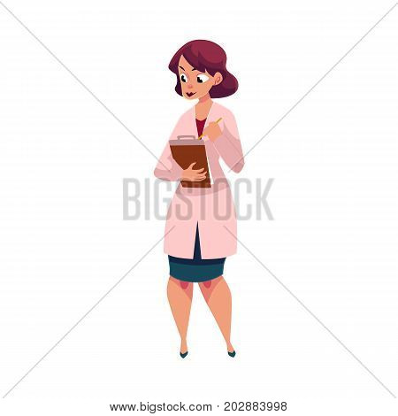 Young woman doctor, therapist filling in medical card, patient chart, cartoon vector illustration isolated on white background. Full length portrait of cartoon woman doctor with medical, patient card