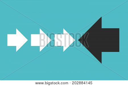 One large black arrow against many small white ones on turquoise blue. Courage, opposition, uniqueness and individuality concept. Flat design. EPS 8 vector illustration, no transparency, no gradients