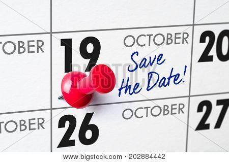 Wall Calendar With A Red Pin - October 19