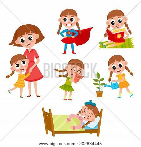 Little girl reading, hugging mom, watering flower, sick in bed, wearing superhero costume, cartoon vector illustration isolated on white background. Daily routines, life of little girl