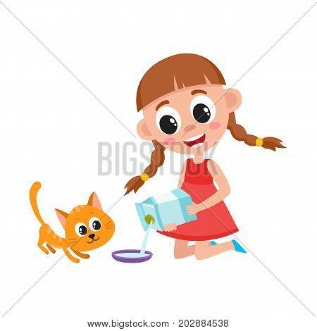 Little girl pouring milk into bowl, feeding her cat, kitten, cartoon vector illustration isolated on white background. Cartoon girl feeding her cat, pouring milk into bowl while sitting on the floor