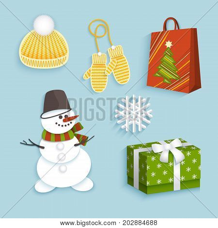 vector winter christmas symbols flat set. Snowman in bucket, triped scarf present box with ribbon bow, knitted cap, mittens snowflake shopping paper bag. Isolated illustration on a white background.