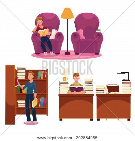Library set - man reading in armchair and at table, putting books on bookshelf, cartoon vector illustration isolated on white background. Young man, student in library set - reading, studying