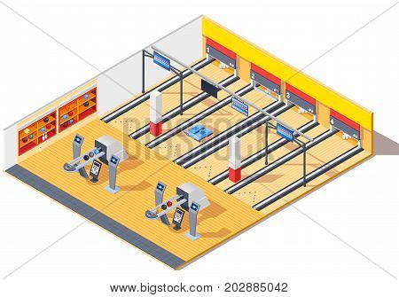 Bowling club isometric interior design with gaming tracks, return system, shelves with pins and balls vector illustration