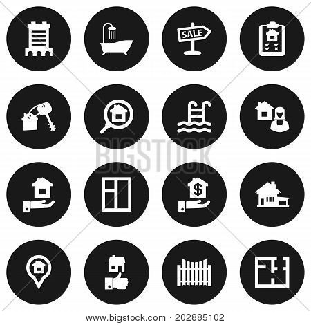 Collection Of Hypothec, Home, Skyscraper And Other Elements.  Set Of 16 Property Icons Set.