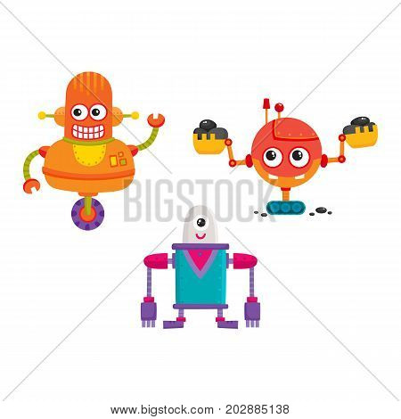 vector flat cartoon funny repairing robots set. Cute humanoid male characters with wrench, ladle - arms and wheel, crawler track - legs smiling. Isolated illustration on a white background.
