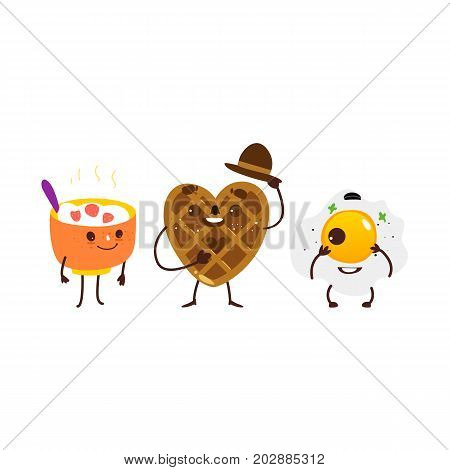 Funny breakfast characters - bowl of oatmeal, waffle and fried egg, flat cartoon vector illustration isolated on white background. Funny smiling bowl of oats, heart shaped waffle and fried egg