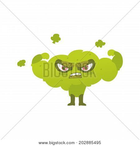 Funny broccoli hero, superhero character, guard, defendor, flat style cartoon vector illustrations isolated on white background. Broccoli vegetable hero, superhero character in mask and cape