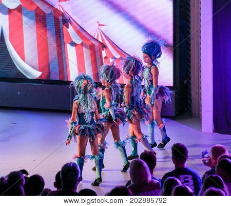 Yalta, Crimea - 11 July, Group of girls in dance costumes, 11 July, 2017. Performance of young artists on the stage of the hotel Yalta Intourist .
