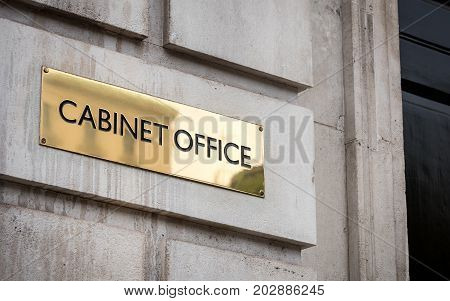 A sign outside the UK government building for the Cabinet Office on London's Whitehall.