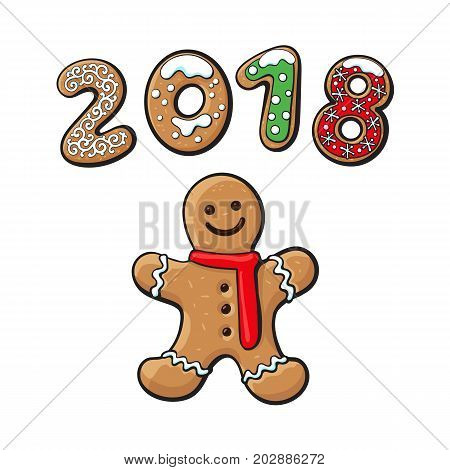 Gingerbread Man cookie vector isolated illustration on a white background. New year 2018 baked candy numbers on the background of cartoon sweet cake man. Traditional winter holiday home treat