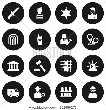 Collection Of Policeman, Truck, Signal And Other Elements.  Set Of 16 Crime Icons Set.