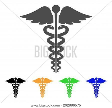 Medical Caduceus Emblem vector pictograph. Style is a flat graphic symbol in gray, black, yellow, blue, green color variants. Designed for web and mobile apps.