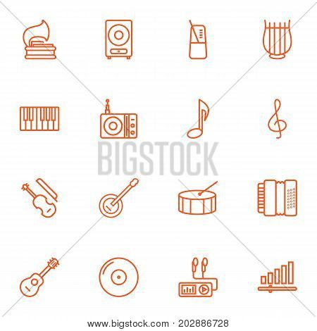 Collection Of Station, Musical Sign, Stringed And Other Elements.  Set Of 16 Music Outline Icons Set.