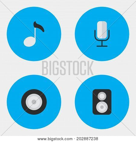 Elements Record, Loudspeaker, Speaker And Other Synonyms Sound, Music And Loudspeakers.  Vector Illustration Set Of Simple Melody Icons.