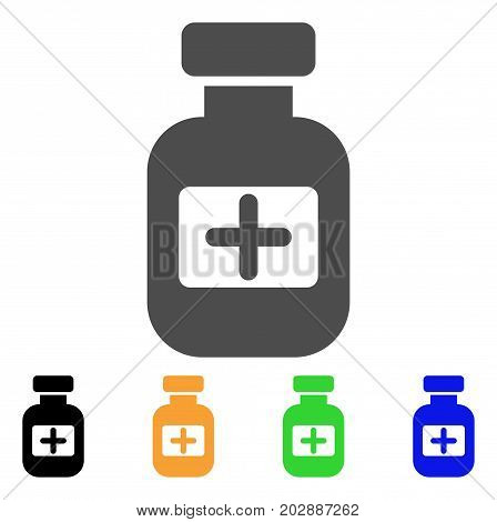 Medication Phial vector pictograph. Style is a flat graphic symbol in grey, black, yellow, blue, green color variants. Designed for web and mobile apps.